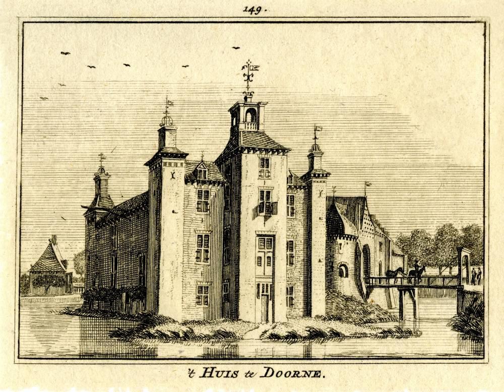 Groot Kasteel in Deurne. Tekening Jan de Beijer, gravure Hendrik Spilman (Uit: Het Verheerlykt Nederland, Isaac Tirion, 1745/1774)